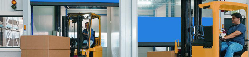 fork-lift trucks working with Hormann Speed Doors System